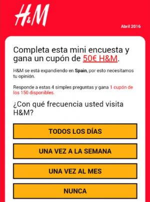 Estafa H&M en Whatsapp